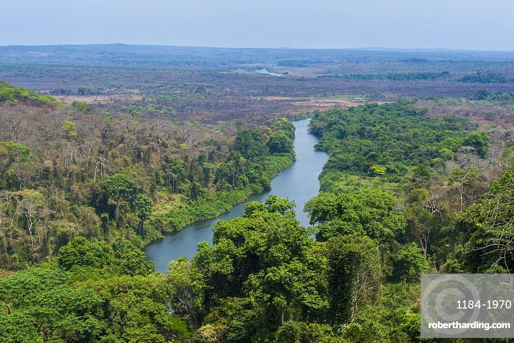 Lucala River flowing out from the Kalandula Falls, Malanje province, Angola, Africa