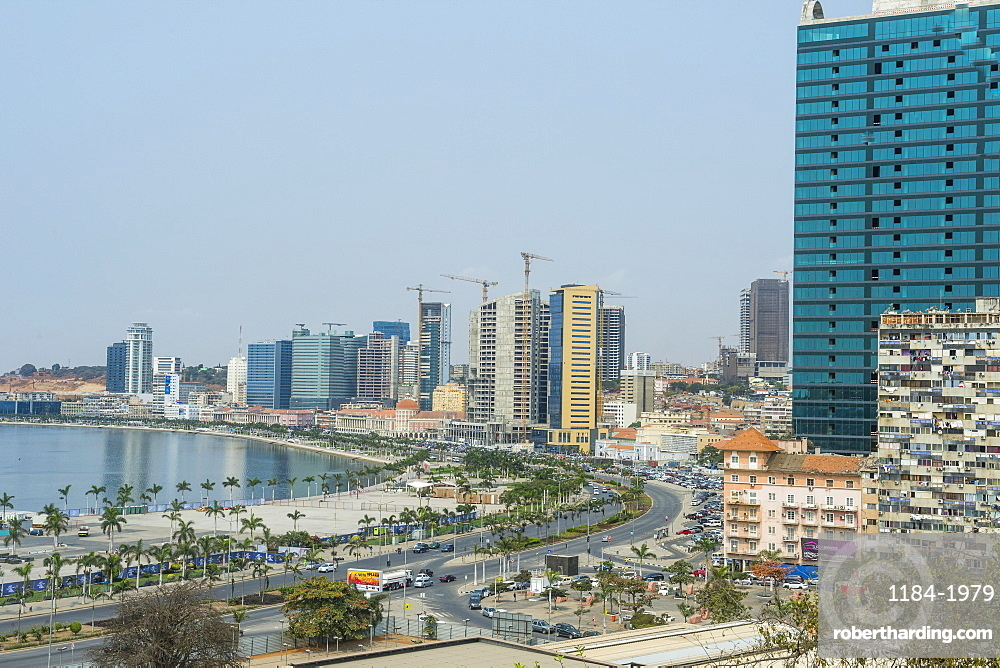View over the new Marginal Promenade (Avenida 4 de Fevereiro), Luanda, Angola, Africa