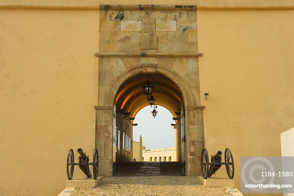 Entrance to the Fortaleza de Sao Miguel (St. Michael Fortress) now the Museum of the Armed Forces, Luanda, Angola, Africa