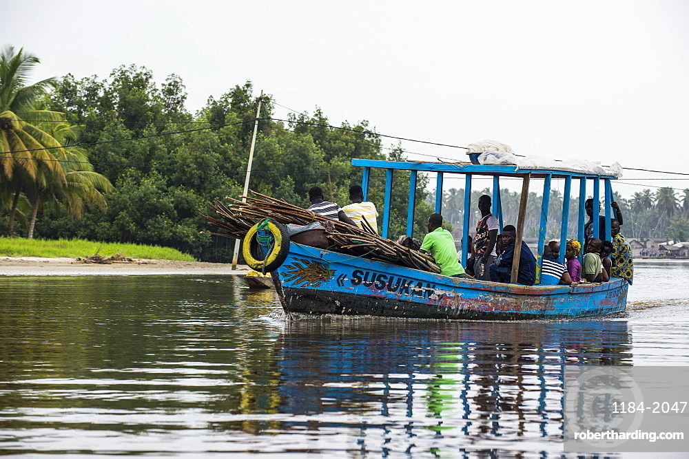 Local ferry in Assinie, Ivory Coast, West Africa, Africa