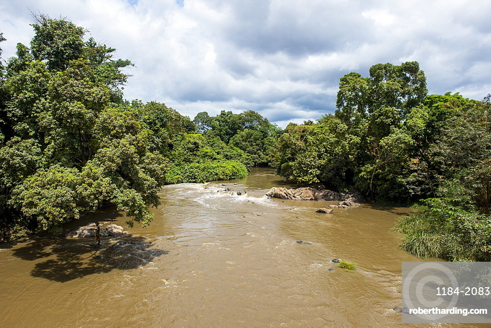 View over the Ogoolle River, Lope National Park, UNESCO World Heritage Site, Gabon, Africa