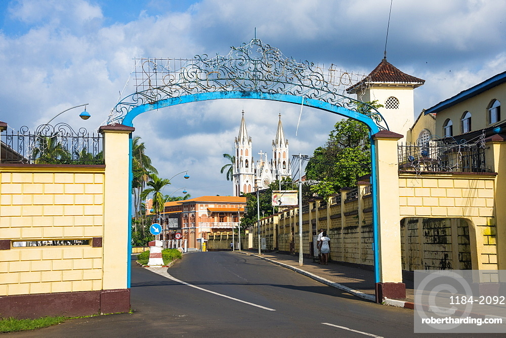 Road leading to the Cathedral of St. Isabel, Malabo, Bioko, Equatorial Guinea