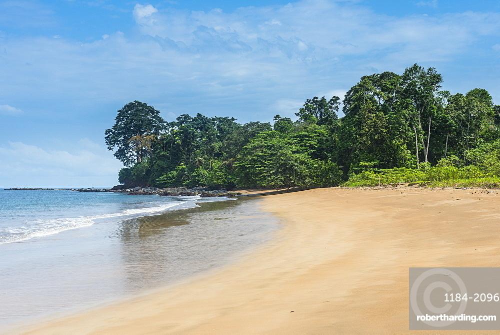 Playa de Alena, white sand beach on the island of Bioko, Equatorial Guinea, Africa