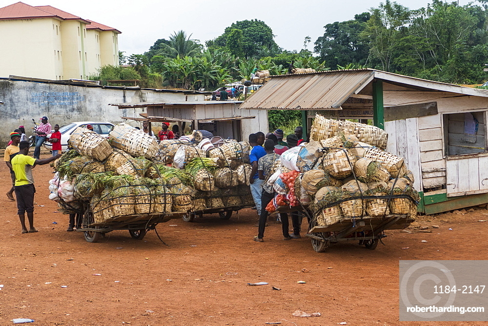 Overloaded carriers on the border of Nigeria, Cameroon
