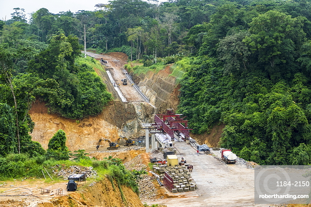 Huge Chinese road construction project in the southwest corner of Cameroon, Africa