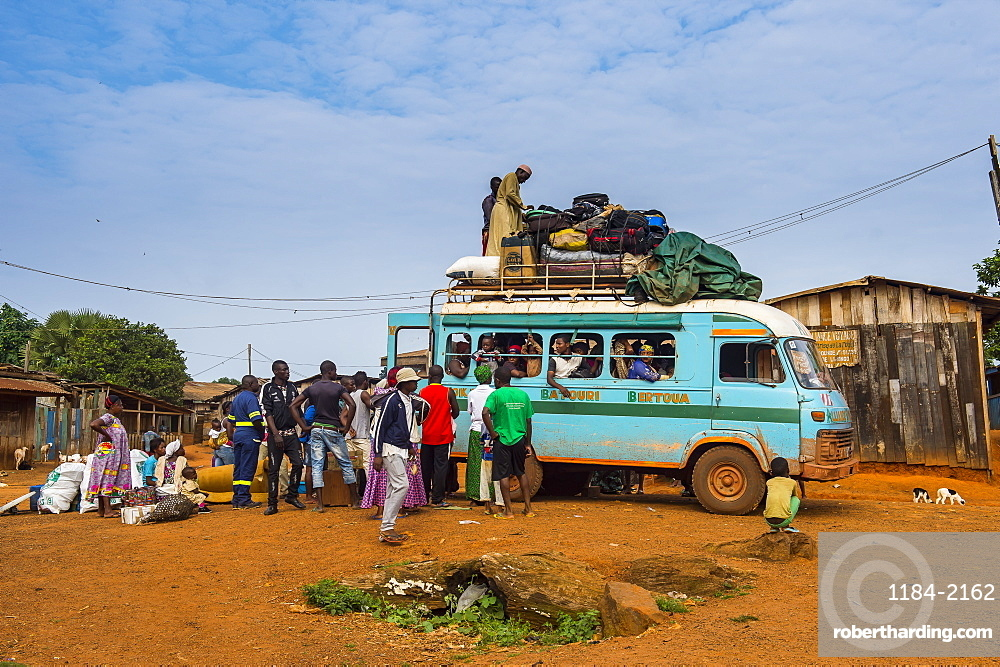 Fully loaded local bus in Libongo, deep in the jungle of Cameroon