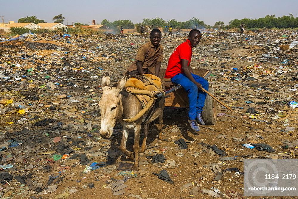 Friendly boys on a public rubbishdump, Niamey, Niger, Africa