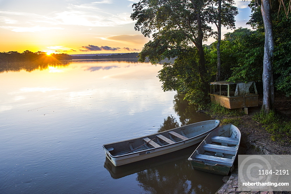 Sunset over the Sangha River flowing through the Dzanga-Sangha Special Reserve, UNESCO World Heritage Site, Central African Republic, Africa