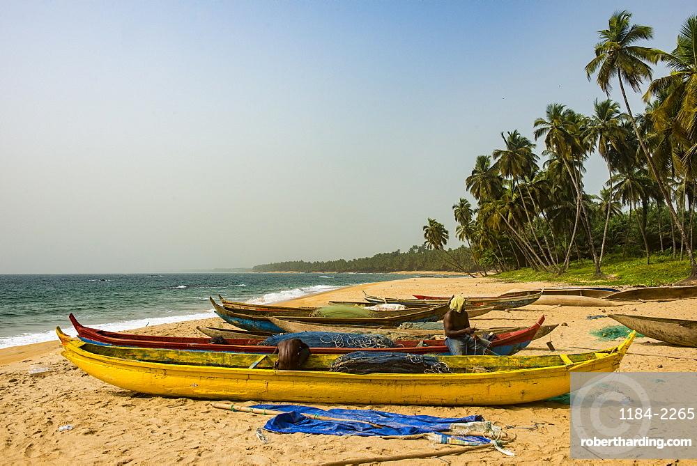 Fishing boats on a beautiful beach, Neekreen near Buchanan, Liberia, West Africa, Africa