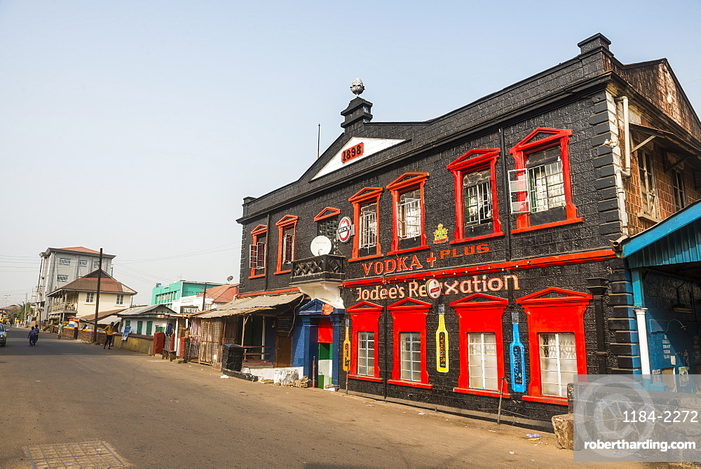 Colonial building in downtown Freetown, Sierra Leone, West Africa, Africa
