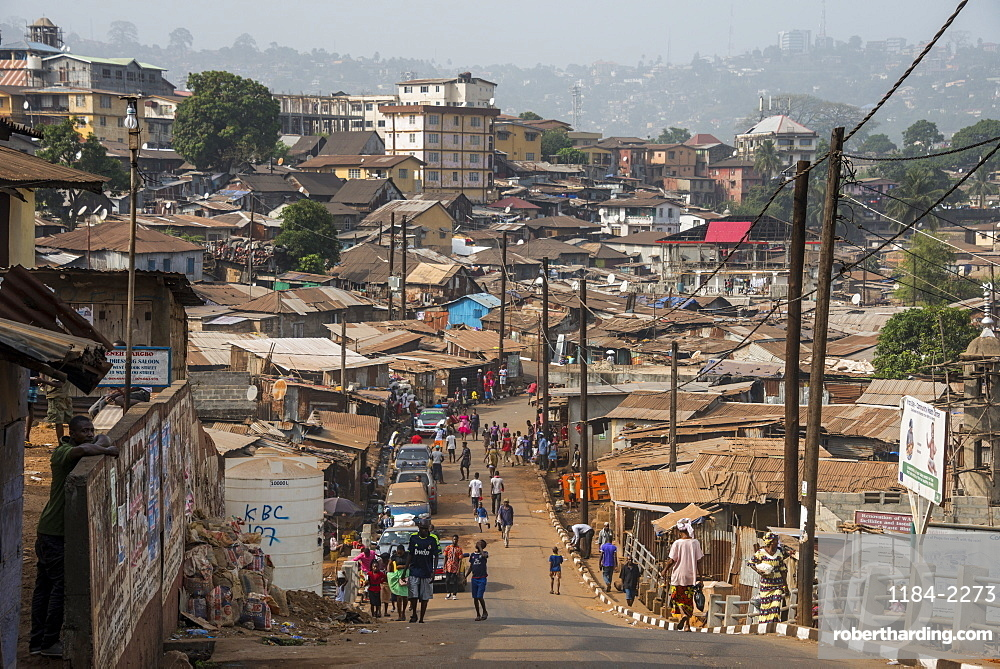 Overlook over the slums of Freetown, Sierra Leone