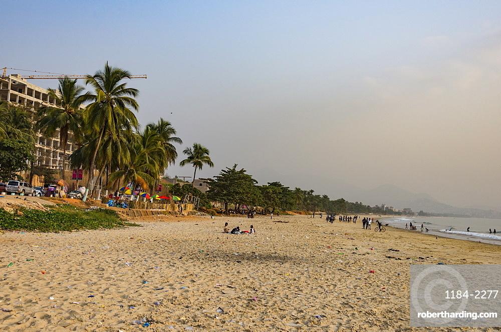Lumley Beach at sunset, Freetown, Sierra Leone, West Africa, Africa
