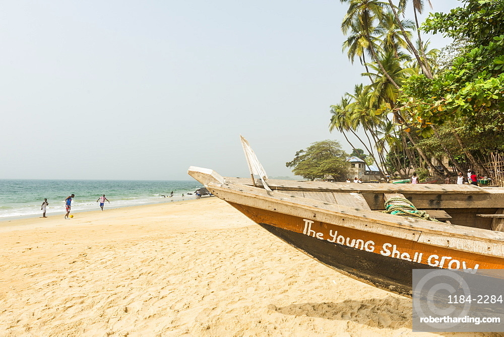 Local fishing boats on Bukeh Beach, Sierra Leone