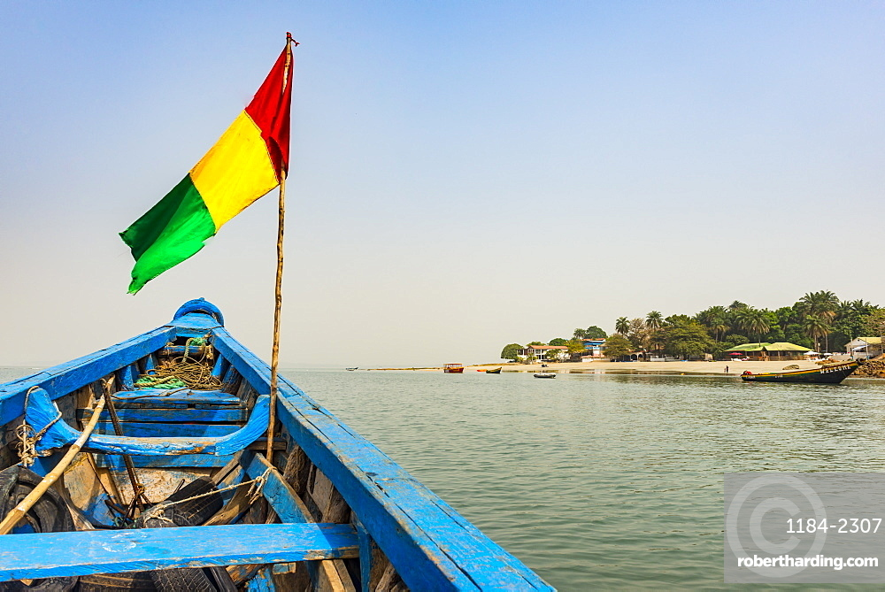 Guinean flag on a boat, Conakry, Republic of Guinea, West Africa, Africa