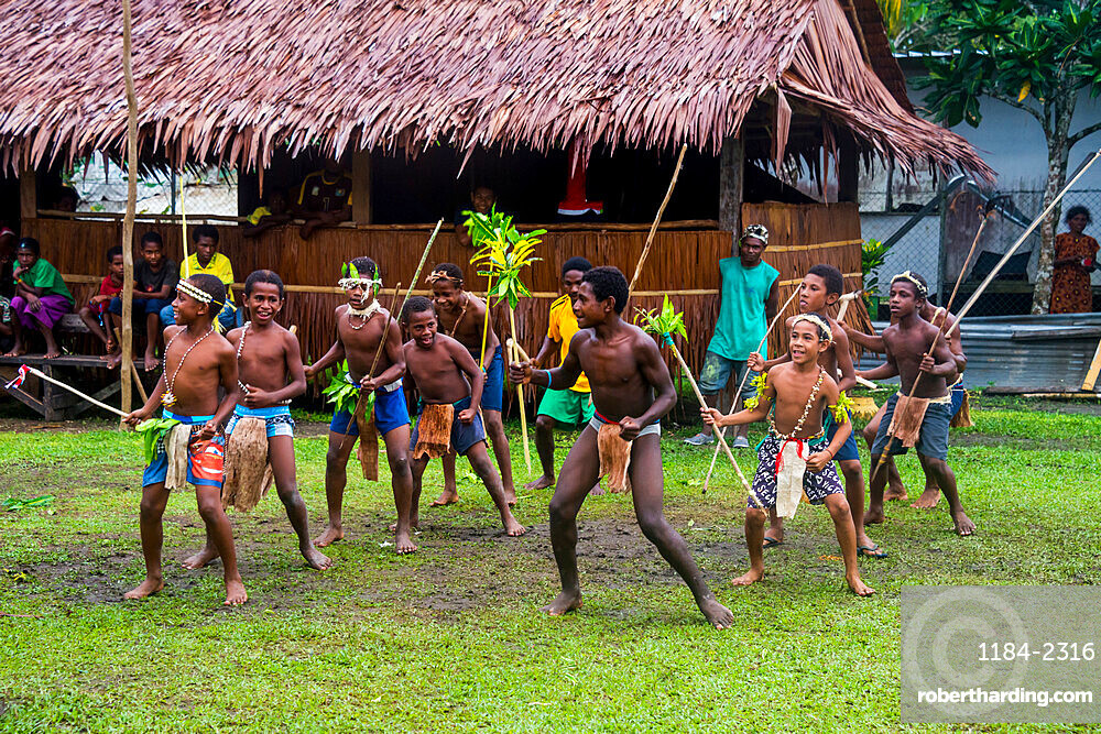 Young people practicing traditional dance, Manus or Admirality islands, Papua New Guinea