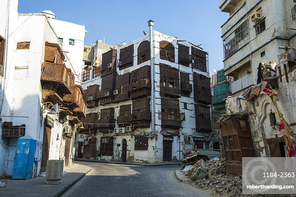 Traditional houses in the Unesco world heritage sight the old town of Jeddah, Saudi Arabia