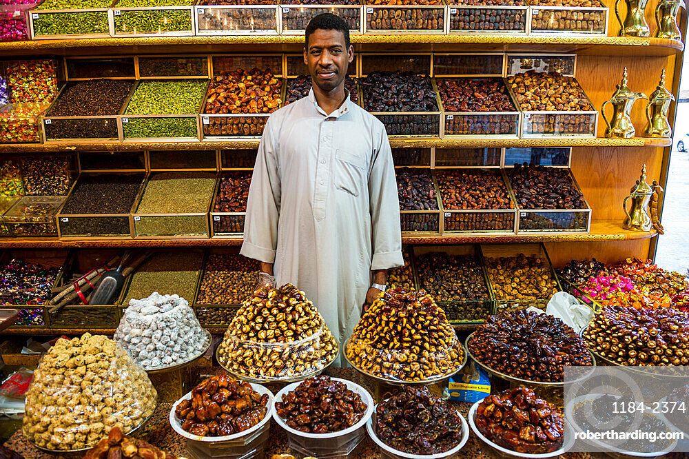 Date shop in the old town of Jeddah, Saudi Arabia, Middle East