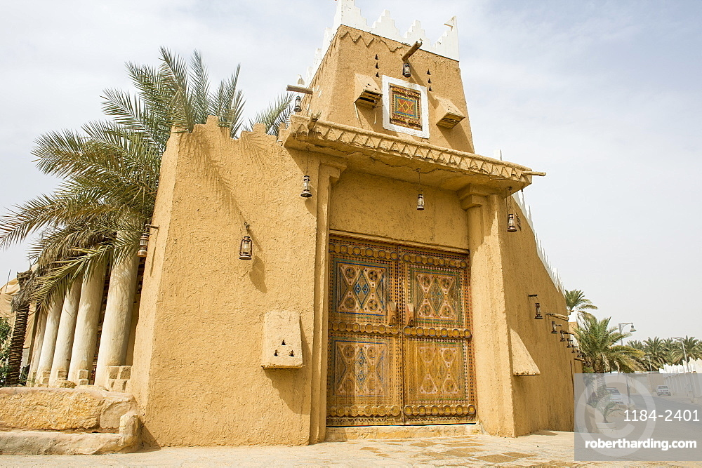 Beautiful coloured door, Diriyah, UNESCO World Heritage Site, Riyadh, Saudi Arabia