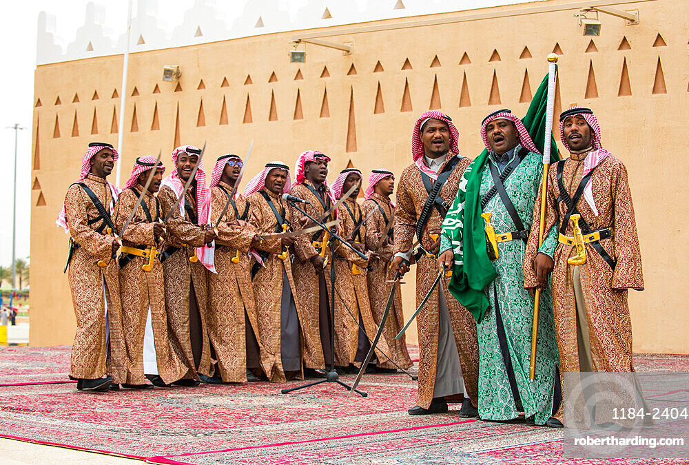 Colourful traditionally dressed men, Al Janadriyah Festival, Riyadh, Saudi Arabia, Middle East