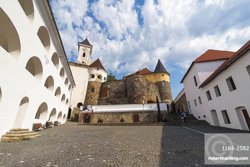 Interior courtyard, Palanok Castle, Mukachevo, Transcarpathia, Ukraine, Europe
