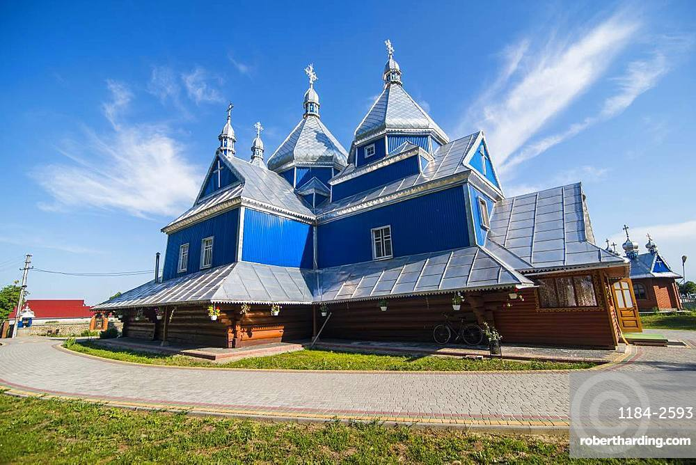 Blue wooden church, near Buchach, Ukraine, Europe