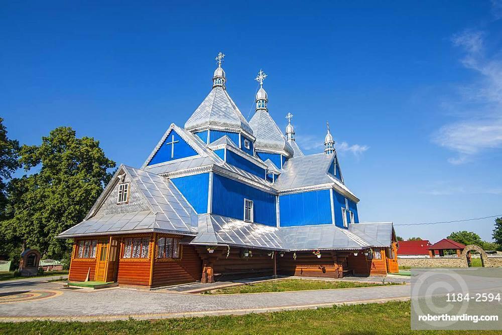 Blue wooden church, near Buchach, Ukraine, Europe