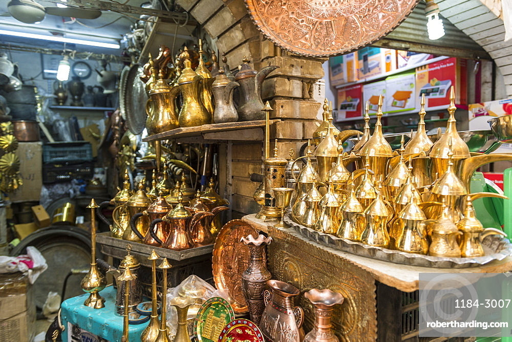 Copper pots for sale, Copper bazaar, Baghdad, Iraq, Middle East