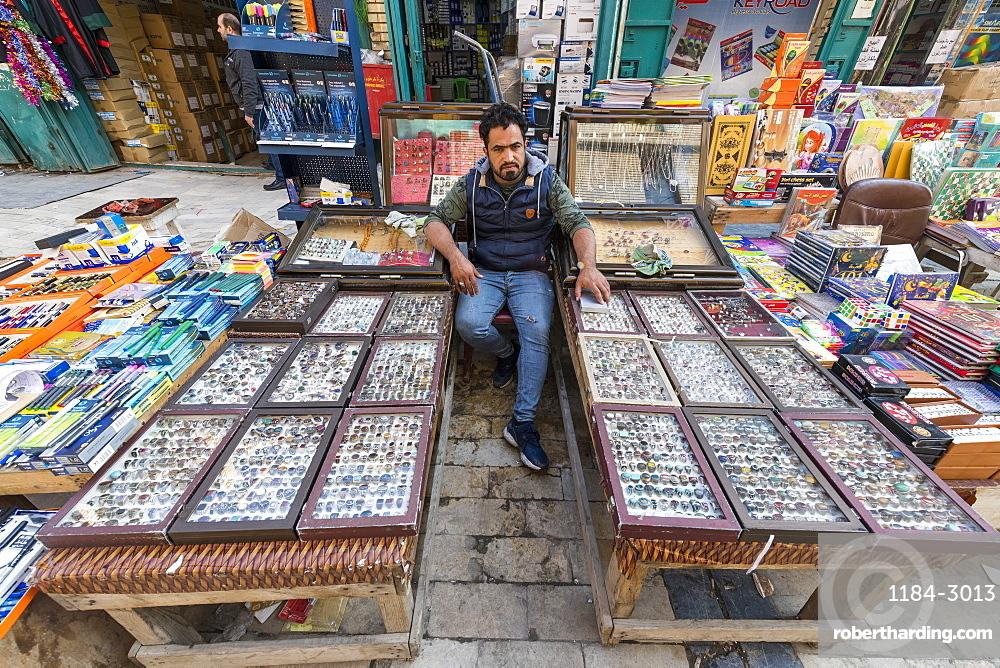 Jewellery seller in Mutanabbi street, Baghdad, Iraq, Middle East