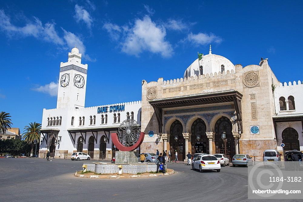 Beautiful colonial railway station of Oran, Algeria, North Africa, Africa