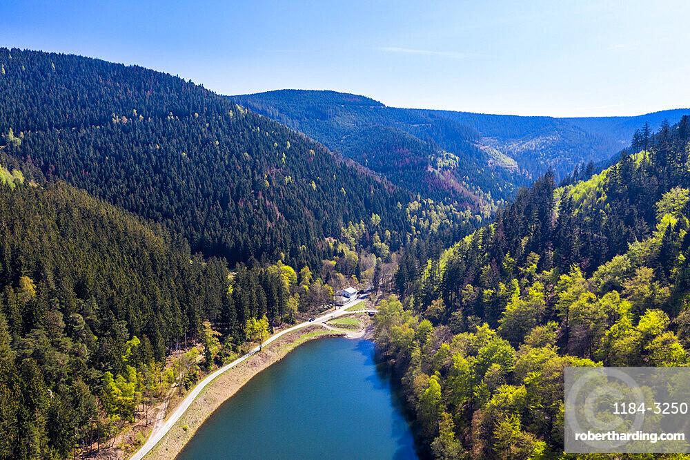 Unesco world heritage sight the Upper Harz Water Regale , Goslar, Lower Saxony, Germany (drone)