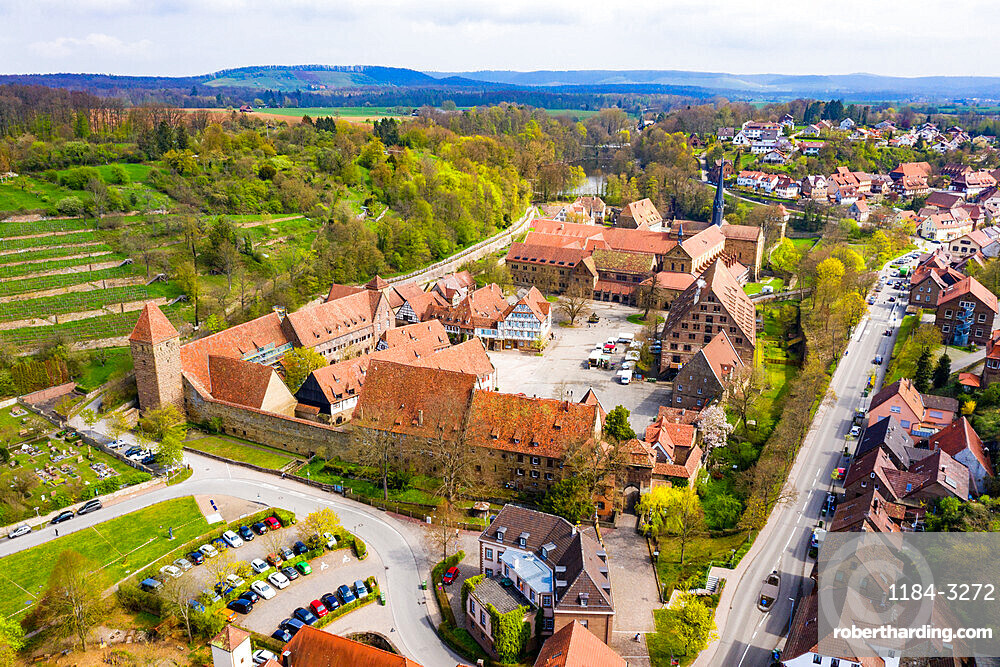 Aerial of the Unesco world heritage sight Maulbronn Monastery, Baden Wuerttemberg, Germany (drone)