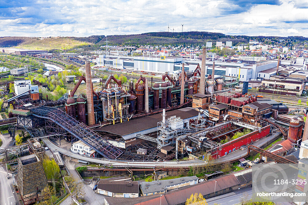 Overlook over the Unesco world heritage sight Voelklingen Ironworks, Saarland, Germany