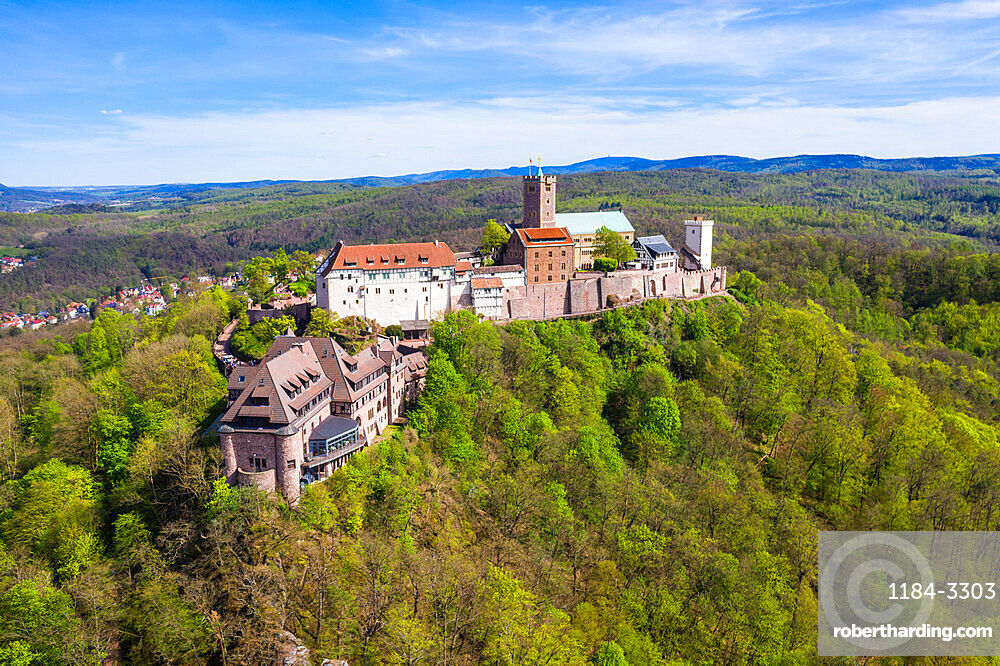 Aerial of the Unesco world heritage sight Wartburg castle, Thuringia, Germany (drone)