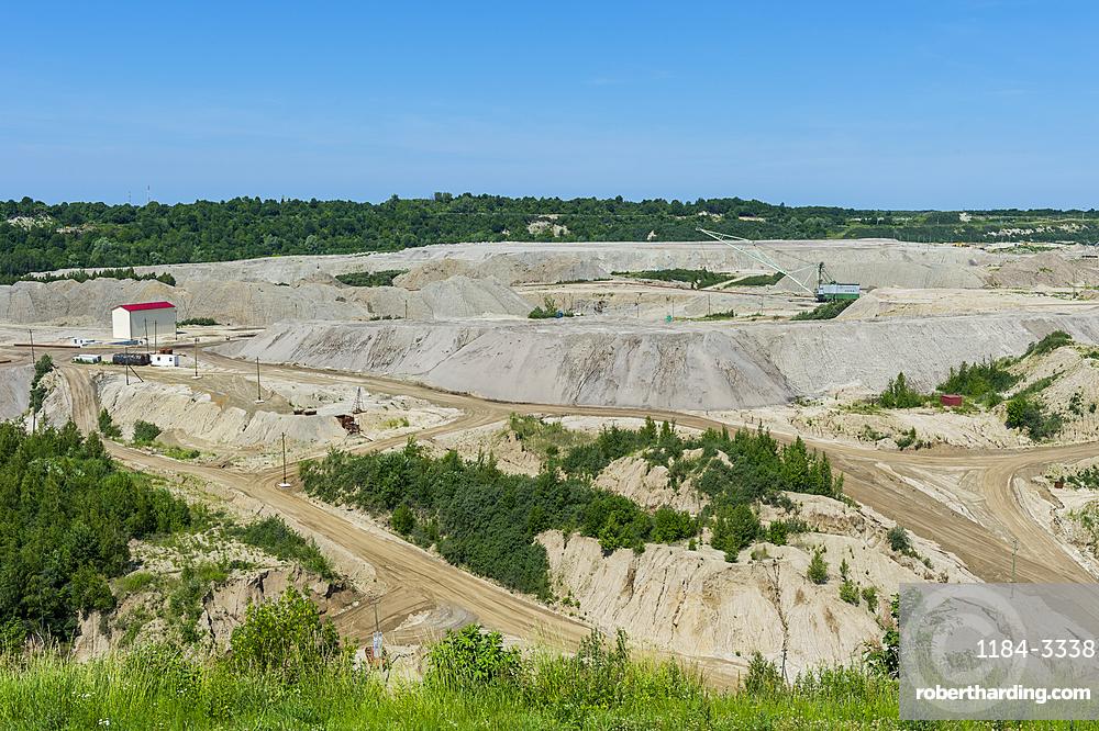 Open pit at the Primorskoye amber mine, Yantarny, Kaliningrad, Russia, Europe