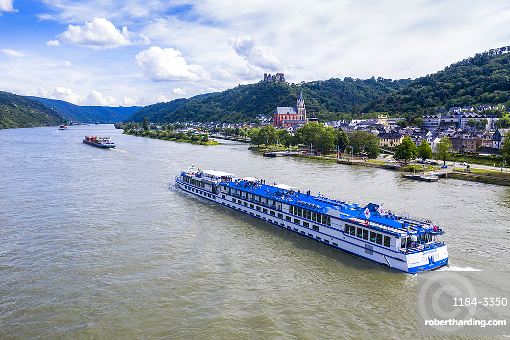 Cruise ship on the Rhine at St.Goar, Unesco world heritage sight Midle Rhine valley, Germany