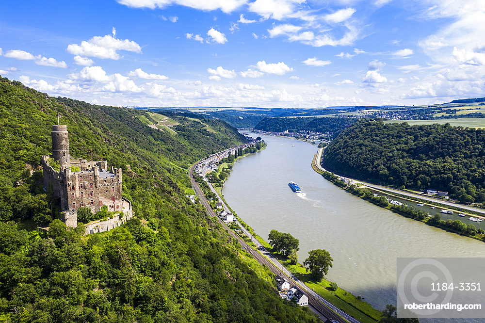 Castle Maus overlooking the Rhine river, Unesco world heritage sight Midle Rhine valley, Germany