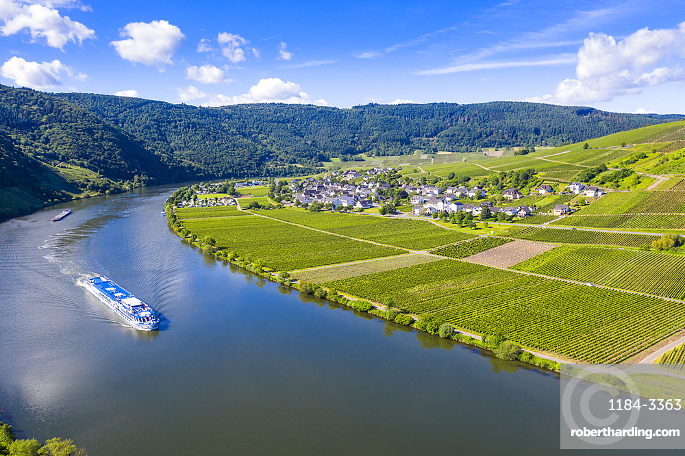 River cruise ship on the Moselle at Mehring, Moselle valley, Germany