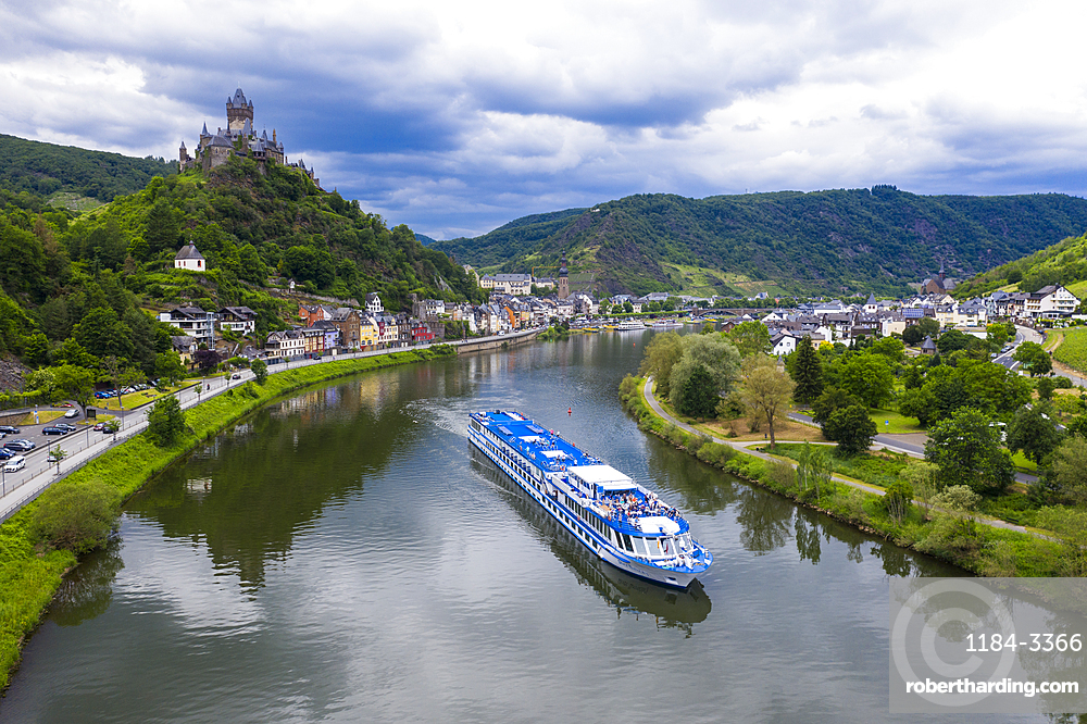 River cruise ship on the Moselle in Cochem, Moselle valley, Germany
