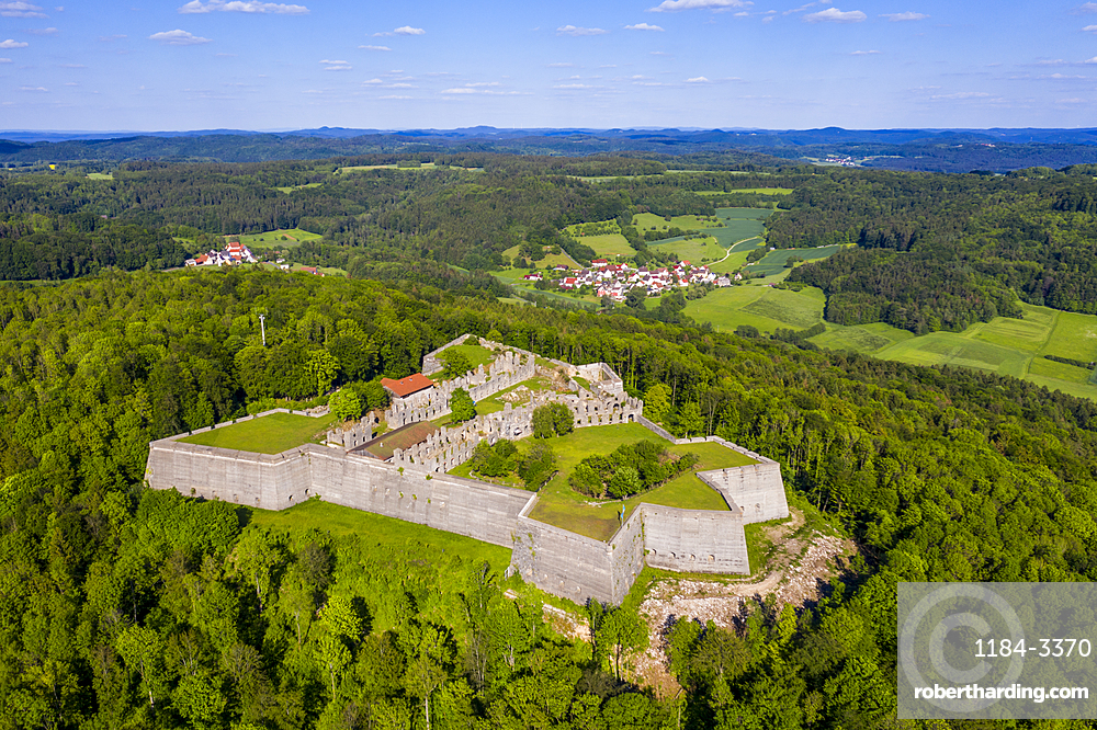 Aerial of Fortress Rothenberg, Franconia, Bavaria, Germany (drone)