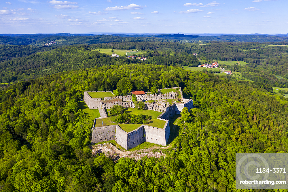 Aerial by drone of Fortress Rothenberg, Franconia, Bavaria, Germany, Europe