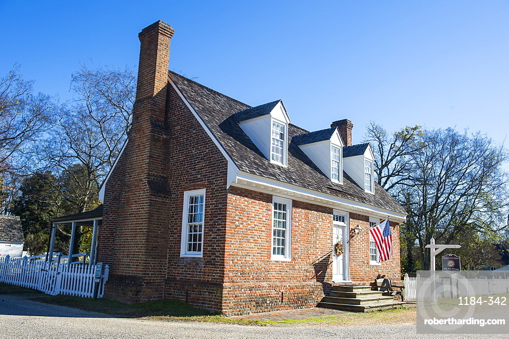 Historical houses in historical Yorktown, Virginia, United States of America, North America