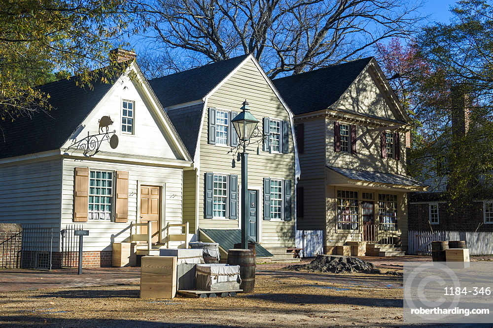 Colonial houses in the historical Williamsburg, Virginia, United States of America, North America