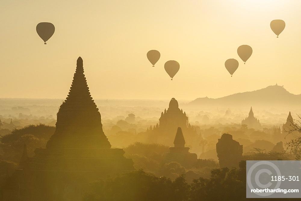 Hot air balloons above the temples of Bagan (Pagan), Myanmar (Burma), Asia