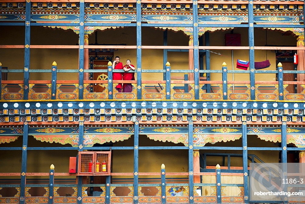 Buddhist monks at Rinpung Dzong, Paro District, Bhutan, Asia