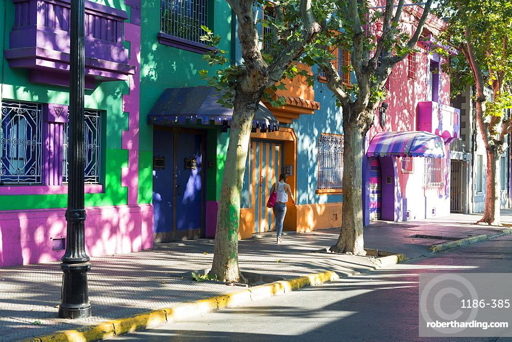 Colourful streets of Bellavista Santiago, Chile, South America