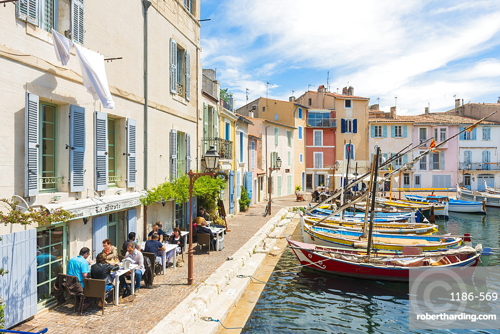 Boats and restaurant in Martigues port, Bouches du Rhone, Provence, Provence-Alpes-Cote d'Azur, France, Europe