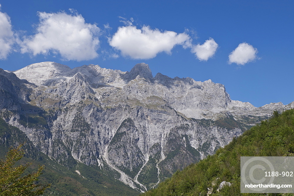 View of the Albanian Alps near Thethi, on the western Balkan peninsula, in northern Albania, Eastern Europe.