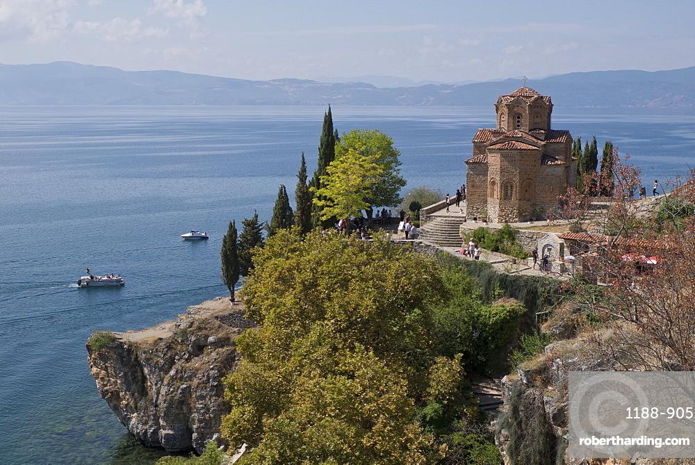 Boats by St. John Kaneo church on Lake Ohrid, UNESCO World Heritage Site, Macedonia, Europe