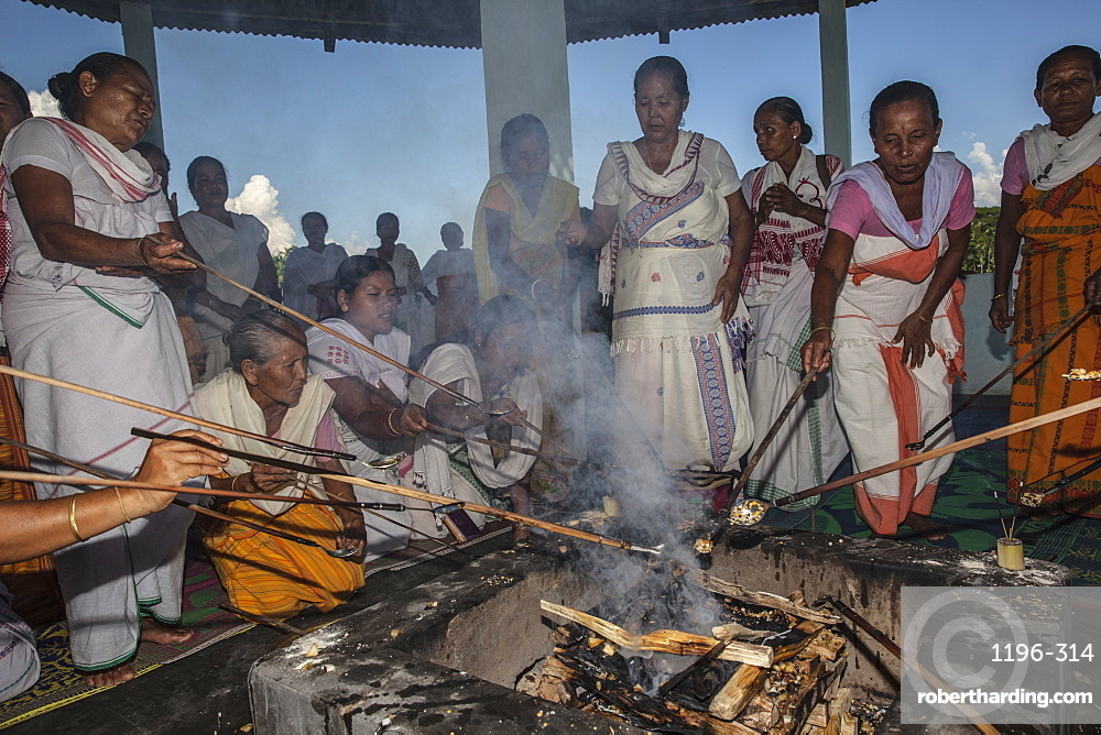 Hawan (offering to fire god) at Karbi Anglong District Brahma Dharma Jyoti Mondir, Langhin Manikpur, Assam, India, Asia
