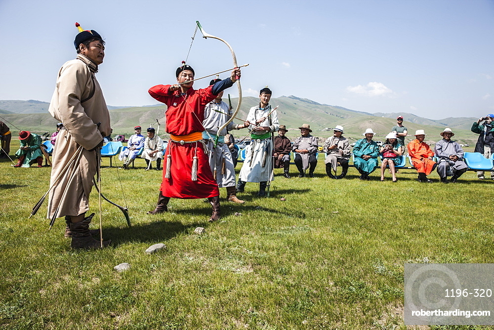 Archery at Naadam Festival. Mongolia.